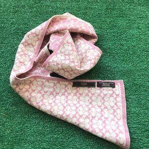 """Coach merino wool blend scarf 48"""" pink logo"""